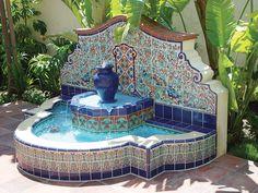 Mexican tile outdoor fountain