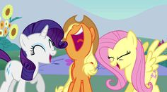 #502630 - animated, applejack, dragonshy, fluttershy, laughing, laughingmares.jpg, rarity, safe - Derpibooru - My Little Pony: Friendship is...