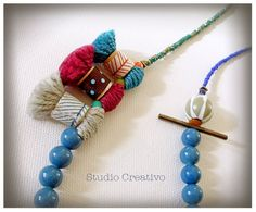 Crafty Collection - Necklace, by Xanthippe - Studio Creativo Fabric Jewelry, Jewelry Art, Jewelry Design, Ceramic Beads, Wooden Beads, Tassel Necklace, Necklaces, Fabric Crafts, Jewelry Collection