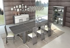 Glossy Grey & White Dining Set w/Buffet & China Made in Italy Soflex Mangano Cheap Dining Tables, Wooden Dining Table Set, White Dining Set, Kitchen Table Chairs, Furniture Dining Table, Small Dining, Extendable Dining Table, Dining Room Light Fixtures, Dining Room Lighting
