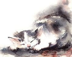 Minimalist Cat Watercolor Print Watercolor by CanotStopPrints