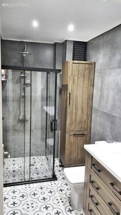 This House is Renovated with Renovations - Bathroom decor ideas Wooden Bathroom Cabinets, Shower Cabin, Shower Remodel, Remodel Bathroom, Budget Bathroom, Modern Bathroom, Master Bathroom, Shower Bathroom, Vanity Bathroom