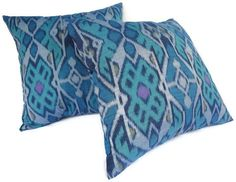 Ikat Pillow Set of 2 16x16 Turquoise Blue Aqua Teal by ginette1223