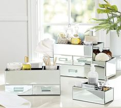 Mirrored Makeup Storage - Elegant, Gorgeous, and practical!!!  My favorite!  :D
