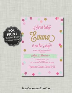 Girl Baby Shower Invitation pink mint gold glitter by CoralBalloon