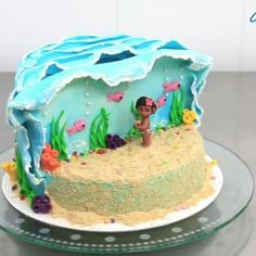 Na onda de Moana... olha que bolo lindo! O vídeo completo esta na página do blog no Facebook.  Crédito www.cakesstepbystep.com #Moana #festamoana