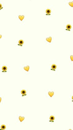 Sunflower & Yellow heart emoticons loosely scattered throughout the ivory background... Playing Cards, Cards, Game Cards