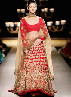 Gold Embroidered Silk Red #Lehenga