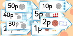 Number Shape Price Labels with Coins,useful for putting prices on in a shopping game. Primary Maths, Primary Teaching, Teaching Math, Preschool Learning, Year 1 Maths, Early Years Maths, Math For Kids, Fun Math, Numicon Activities