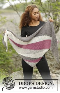 "Tide Rose - Knitted DROPS shawl with short rows and stripes in ""Brushed Alpaca Silk"". - Free pattern by DROPS Design"