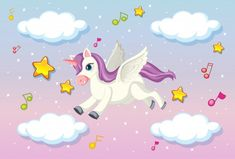 Free Vector   Cute unicorn with blank banner Unicorn Wings, Baby Unicorn, Unicorn Art, Little Unicorn, Cute Unicorn, Little Pony, Pastel Sky, Pink Sky, Bebe Vector