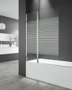 Mampara para bañera con panel fijo + puerta OPEN con serigrafía FROST
