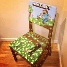 Custom Minecraft chair for a girl.  Herobrine with evil wolf, creeper, and Enderman with ocelot. Love creating fun furniture for kids!
