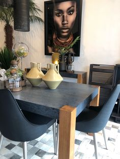 This Custom made Dining table combines the richness of Caesarstone Black Templar and Tasmanian Oak at Moss Furniture Oak Dining Table, Dining Chairs, Furniture Collection, Custom Made, Tables, Creative, Black, Design, Home Decor