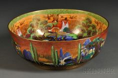 WEDGWOOD FAIRYLAND LUSTRE POPLAR TREES BOWL, ENGLAND, C. 1920, Z5360 WITH FLAME SKY, THE INTERIOR WITH WOODLAND ELVES V - WOODLAND B... - Skinner Inc