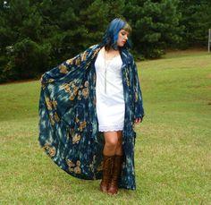 Vintage Teal Tie Dye Gold Tribal Beaded Maxi by Enchantedfuture