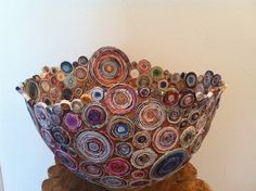 QUEENS CHALICE  Coiled recycled magazine paper and brown door Artesa, $2600.00