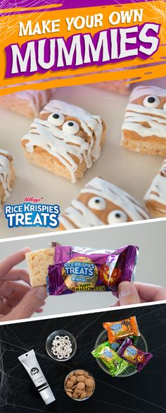 Unwrap some Rice Krispies Treats, then wrap them back up again! Turn your marshmallow-y yummies into haunted #mummies with just a few quick and crafty steps this #Halloween. Ingredients: - Rice Krispies Treats - Butterscotch candy melts - Candy eyeballs - White decorating icing