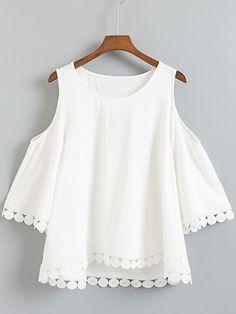 White Dip Hem Cold Shoulder Embroidery Blouse