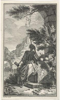 Simon Fokke   De Dood, Simon Fokke, 1722 - 1784   Een skelet zit op een muurtje waarop de beeltenis van de zondeval staat. Hij ondersteunt met de rechterhand zijn hoofd, in de andere hand houdt hij een zandloper vast. Op de voorgrond ligt een slang die in een appel bijt.