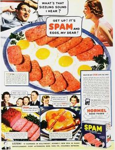 Spam, the pre-cooked canned meat product from Hormel, was introduced in This is one of the first ads for the product. Note the serving suggestions. Retro Recipes, Vintage Recipes, New Recipes, Retro Vintage, Vintage Food, Retro Ads, Vintage Advertisements, Retro Food, 1970s Food