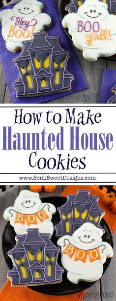 Halloween Recipes How to Make Haunted House Cookies by www. Halloween Cookies Decorated, Halloween Sugar Cookies, Halloween Sweets, Halloween Baking, Halloween Food For Party, Halloween Cakes, Decorated Cookies, Halloween Halloween, Wedding Cakes