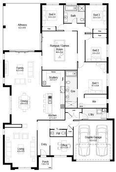 Floor Plan Friday: Large 4 bedroom, rumpus, scullery + office family home Hi there! It's Friday again and here is this week's floor plan. I think this is a pretty good family floor plan. It's large with. Living Room Floor Plans, Floor Plan 4 Bedroom, 4 Bedroom House Plans, Living Room Flooring, Best House Plans, Dream House Plans, House Floor Plans, House Layout Plans, House Layouts