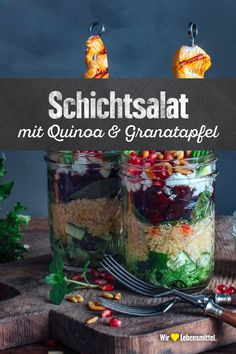Layered salad with quinoa & pomegranate tasty simple tasty healthy . - Layered salad with quinoa & pomegranate delicious easy delicious healthy delicious q - Protein Snacks, Healthy Protein, Yummy Drinks, Healthy Drinks, Vegetarian Finger Food, Veggie Recipes, Snack Recipes, Quinoa Salat, Valeur Nutritive