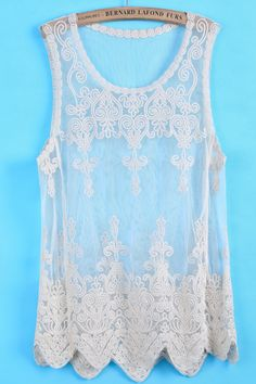 To find out about the Apricot Sleeveless Hollow Embroidered Lace Vest at SHEIN, part of our latest Tank Tops & Camis ready to shop online today! Passion For Fashion, Love Fashion, Fashion Outfits, Womens Fashion, Fashion Design, Cute Summer Outfits, Cute Outfits, Summer Clothes, Kimora Lee