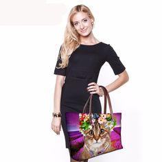 Womens Shoulder Bags Cat Printed Casua X- Large Women's Handbags/6 STYLES #miniaturepinscherlovers