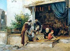 Algérie - Peintre  Français   EugèneGirardet (1853-1907), huile sur toile , Titre : Marchand de chaussure