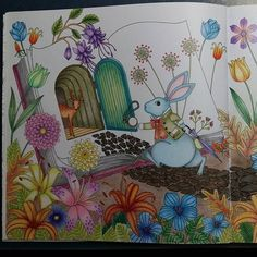 """90% completed. Thats the hubby's idea ~ Skyblue rabbit, initially i felt weird but now i find it he is right! Thats so-called """"wonderland"""" #adultcoloringbook#amilyscolorfulwonderland"""