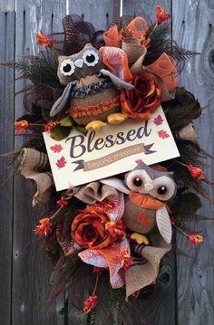 Fall Wreath Owl Wreath Autumn Wreath Thanksgiving by BaBamWreaths