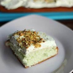 skinny pistachio cake low fat low sodium low cal serves 12 view of one slice
