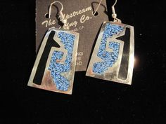 Drop-Dangle Silver Plated Oblong Shell Inlay Earrings #UpstreamTradingCompany