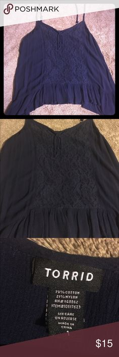 Torrid Flowy Tank Navy blue Torrid flowy tank.  Size 1.  I was bummed that this is just a hair too small.  It's very flattering on. torrid Tops Tank Tops
