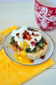Pink Wings: Creamy Eggs Florentine with Pancetta