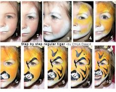 Malowanki Czyli Face Painting Face Painting Tiger Face - Malowanki Czyli Face Painting Step By Step Tiger Makeup Face Painting Examples Are Very Useful In The Art Of Face Painting One Of The Greatest Things About Face Painting Examples Is That There Face Painting Tutorials, Face Painting Designs, Tiger Makeup, Tiger Face Paints, Step By Step Painting, Painting Steps, Animal Faces, Fantasy Makeup, Painting For Kids