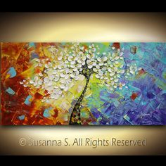 ORIGINAL Large Abstract Contemporary Fine Art Flowers Tree Impasto Landscape Cherry Blossom Modern Palette Knife Painting by Susanna 48x24