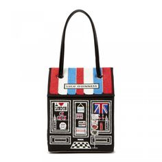 Souvenir Shop Bag: The Souvenir Shop Bag; influenced by London and its many icons. See the latest depiction of Souvenir shop selling its wares including an Abbey Road sign, Underground Tube Map and Big Ben ornaments. - Visit Lulu Guinness at http://www.luluguinness.com/