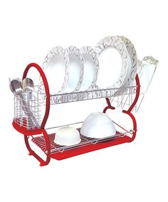 Love this Red Two-Tier Dish Rack Set by Home Collections on #zulily! #zulilyfinds