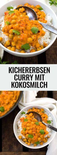 Kichererbsen-Curry mit Kokosmilch. Dieses 30-Minuten Rezept ist schnell, einfach und unglaublich cremig - Kochkarussell.com Vegan Recipes, Indian Food Recipes, Pasta Recipes, Cooking Recipes, Ethnic Recipes, Dinner Recipes, Low Carb Curry, Currys, Coconut Curry