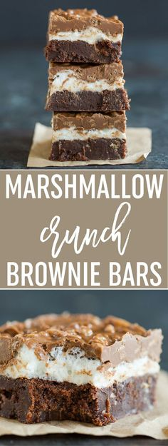 Marshmallow Crunch Brownie Bars - Super fudgy brownies topped with a marshmallow layer and a chocolate, peanut butter and Rice Krispies mixture. A huge crowd favorite! via (Chocolate Peanut Butter Torte) 13 Desserts, Delicious Desserts, Dessert Recipes, Yummy Food, Bar Recipes, Whole30 Recipes, Healthy Recipes, Candy Recipes, Brownie Toppings