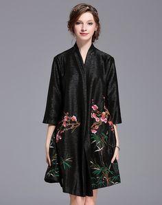 #AdoreWe #VIPme Coats - DAIPYA Black Floral-embroidered Vintage 3/4 Sleeve A-line Coat - AdoreWe.com