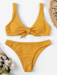 Tie Front Scoop Neck Bikini Set Color:Yellow Type:Bikinis Composition:Polyester Chest pad:Yes Pattern Type:Plain Decoration:Knot Material:Polyester Bra Type:Wireless Neckline:Scoop Neck Trendy Swimwear, Cute Swimsuits, Cute Bikinis, Swim Suits Bikinis, Romwe Swimwear, Bikini Modells, Bikini Sexy, Summer Bathing Suits, Cute Bathing Suits