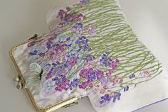 Silk ribbon Embroidery Purse Bag Lavender Sachets Flower GardenHand embroidered accessory ribbon purse flowers vintage floral needlework bag von OlgaHengst auf Etsy