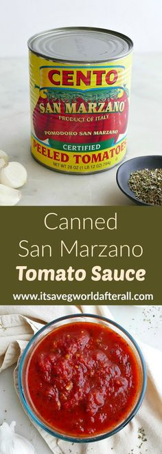 Canned San Marzano Tomato Sauce - make the most out of your canned tomatoes with this incredibly easy and delicious homemade marinara sauce recipe! It tastes great on pizza and pasta, and can easily be prepared in bulk. Easy Pasta Sauce, Easy Tomato Sauce, Homemade Tomato Sauce, Tomato Sauce Recipe, Canned Tomato Sauce, Sauce Recipes, Pasta Sauces, Pasta Recipes, San Marzano Tomato Sauce