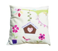 Cushion child Spring flowers pink personalized with a name- Pillow with children