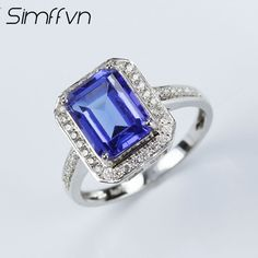 Simffvn Cluster 18K White Gold Round Cut 2.71CT Emerald Cut  Blue Tanzanite Engagement Rings For Women Gemstone Fine Jewelry