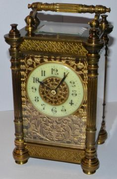 An french carriage clock Antique Clocks, Antique Rings, Vintage Rings, Antique Jewelry, Mantel Clocks, Mantle, Hand Jewelry, Jewellery, Carriage Clocks